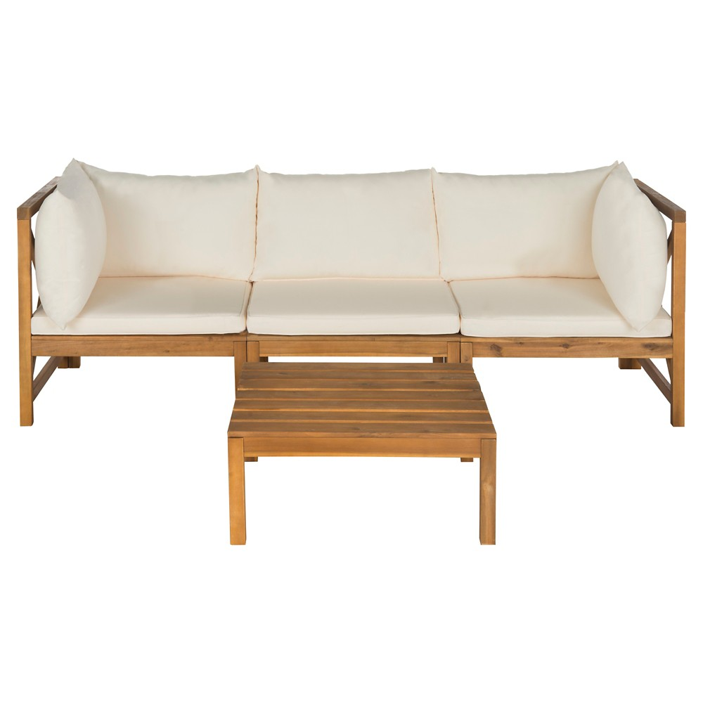 La Pelosa 4pc Wood Patio Sectional Conversation Furniture Set In Brown Beige Safavieh
