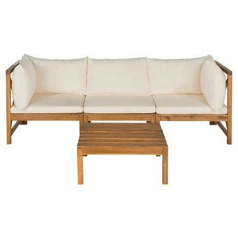 La Pelosa 4-Piece Wood Patio Sectional Conversation Furniture Set - Safavieh® - image 1 of 4