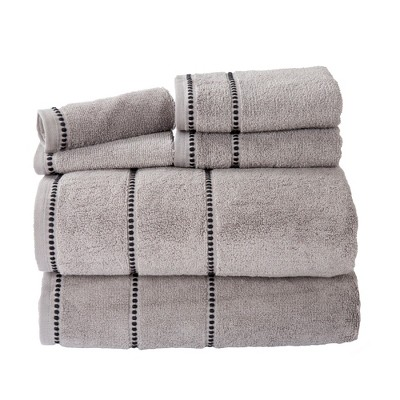 6pc Solid Bath Towel and Washcloth Set Gray - Yorkshire Home