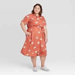Women's Plus Size Floral Print Short Sleeve Collared Neck Shirtdress - Ava & Viv™ Coral