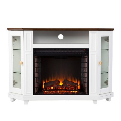 Ruldon Electric Media Fireplace with Storage White/Brown - Aiden Lane