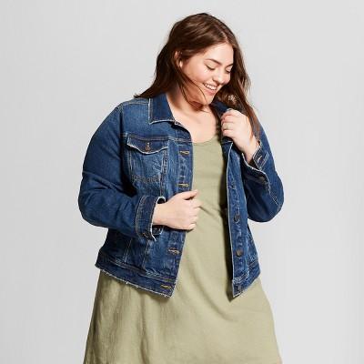 240028e86b5 Women s Plus Size Freeborn Denim Jacket - Universal Thread™ Medium Wash    Target