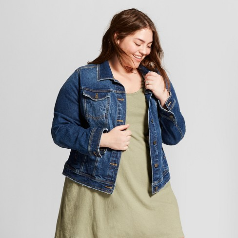 Women s Plus Size Freeborn Denim Jacket - Universal Thread™ Medium Wash 24f1e3fa73