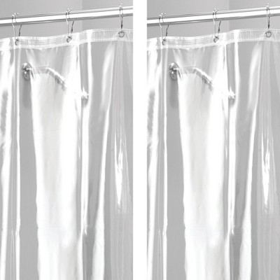 mDesign Waterproof Vinyl Shower Curtain Liner, 10 Guage - 2 Pack
