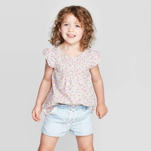 OshKosh B'gosh Toddler Girls' Floral Blouse - Pink - image 1 of 4