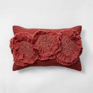 Floral Applique Rectangle Throw Pillow Rose - Opalhouse™