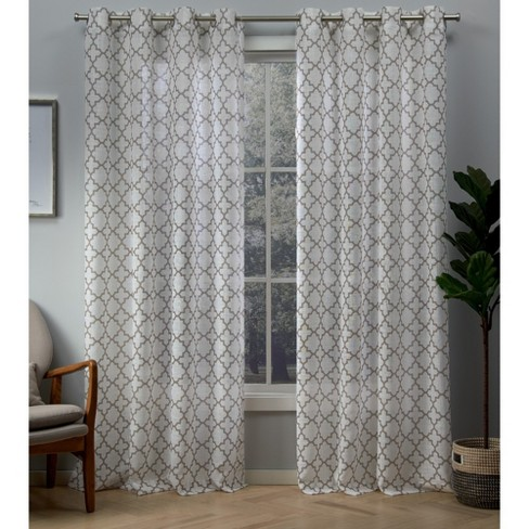 Helena Printed Sheer Grommet Top Window Curtain Panel Pair Blush - Exclusive Home - image 1 of 4