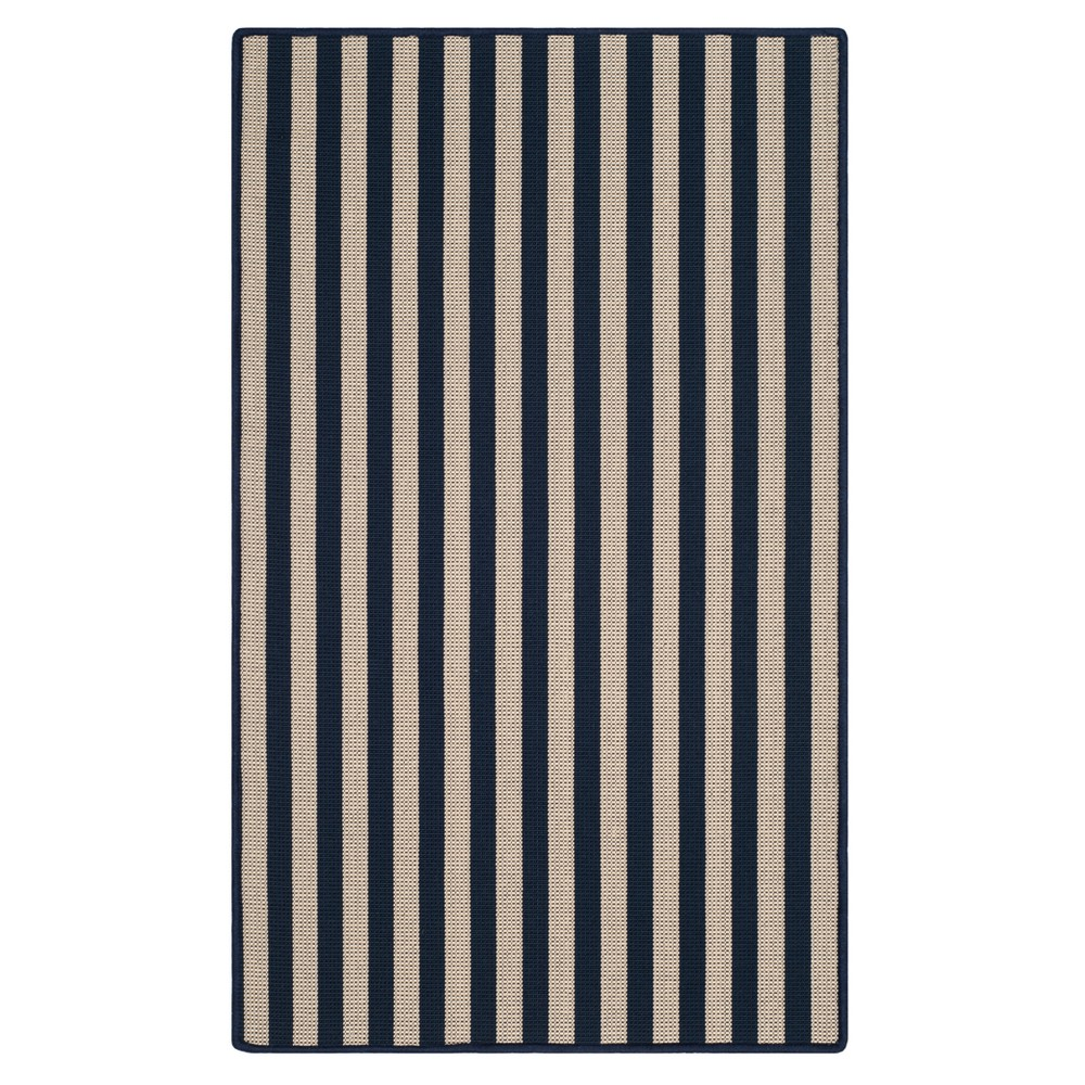 Ivory/Navy (Ivory/Blue) Stripe Hooked Accent Rug 3'X5' - Safavieh