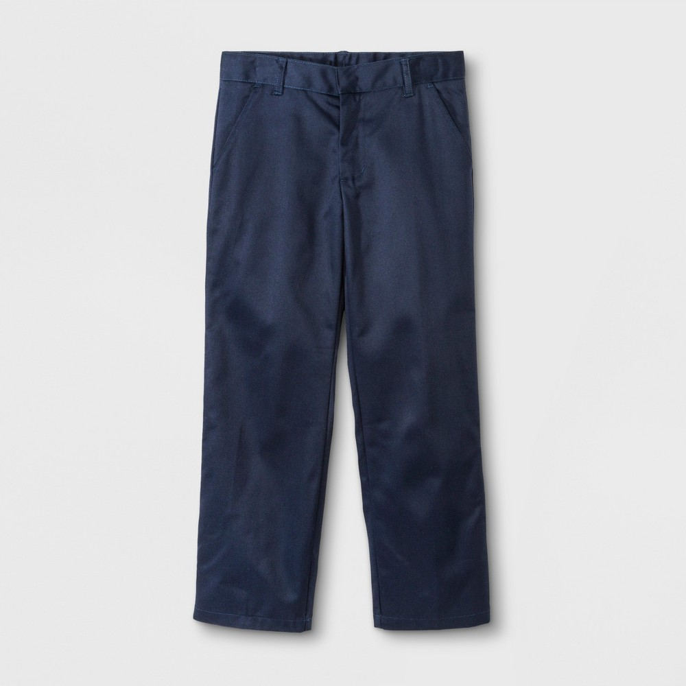 French Toast Boys' Double Knee Flat Front Pants - Navy (Blue) 12