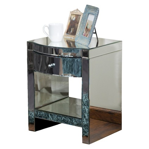 Roxie Mirrored End Table Silver Christopher Knight Home
