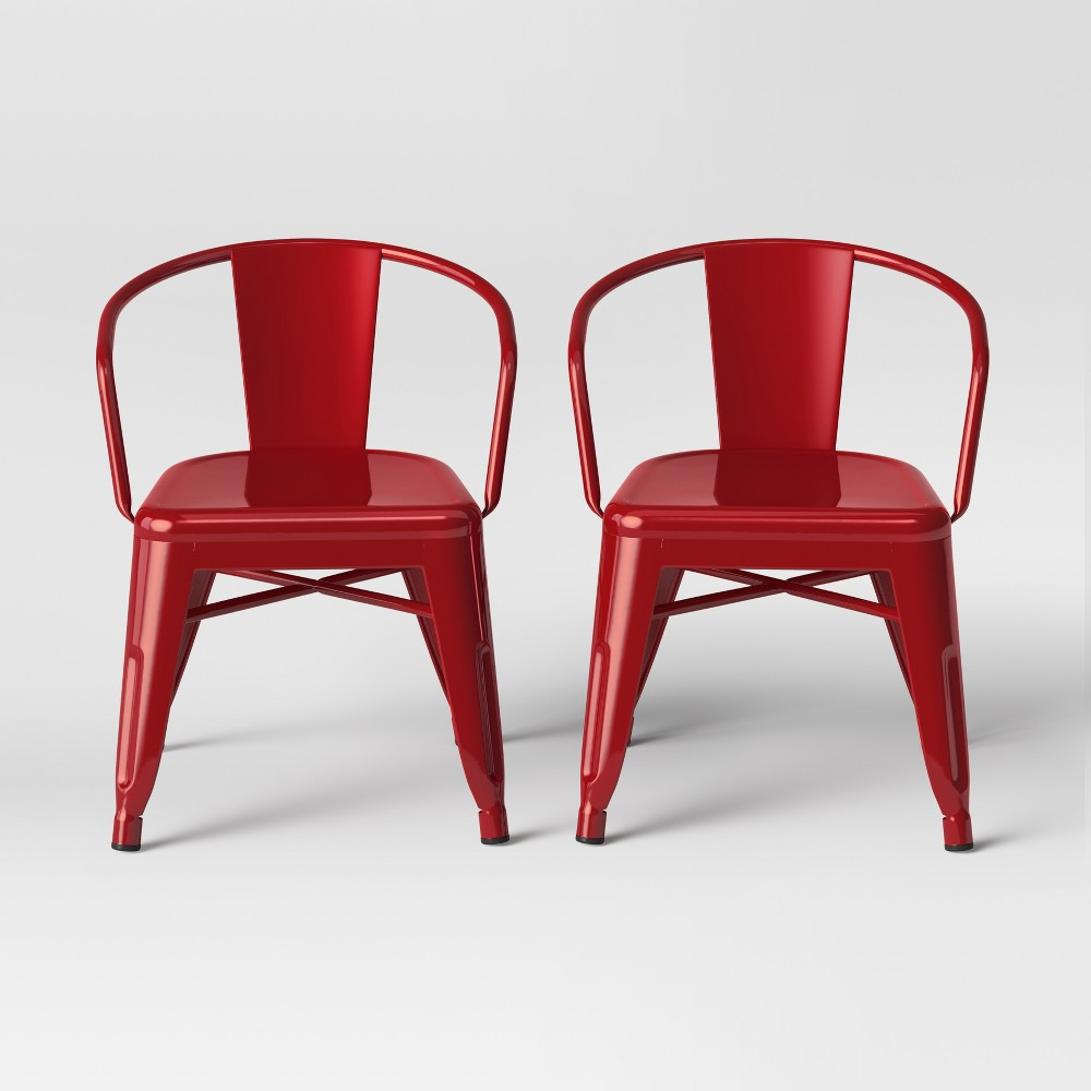 Set of 2 Kids Industrial Activity Chair Red - Pillowfort