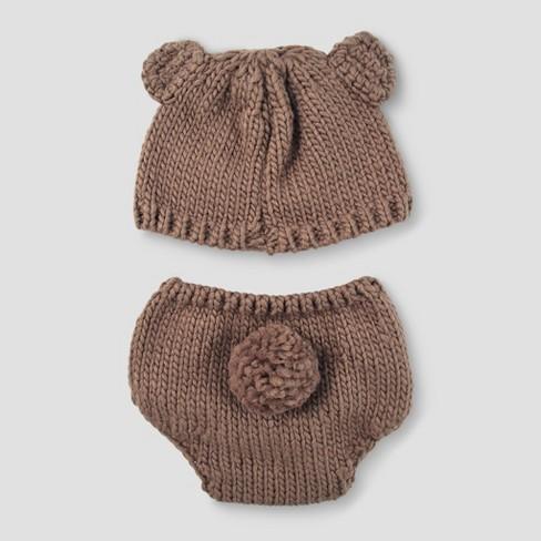 Baby Boys  Bear Hat   Diaper Cover Set - Cloud Island™ Brown   Target bb2f0610269