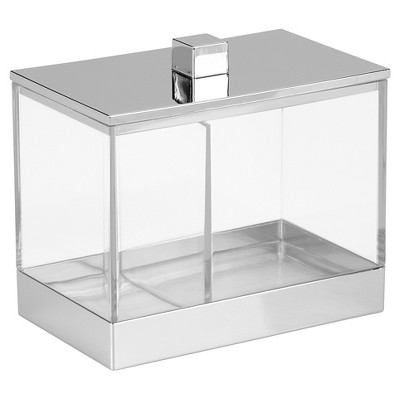 Rectangular Bathroom Vanity Canister with Dividers Clear/Chrome - iDESIGN