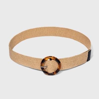 Women's Plus Size Woven Tort Buckle Belt - Ava & Viv™ Natural