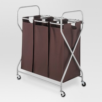 Rolling Triple Laundry Sorter - Brown - Threshold™