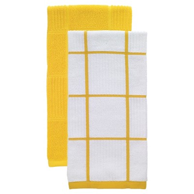 Yellow Parquet Kitchen Towel 2 Pack (16 x26 )T-Fal