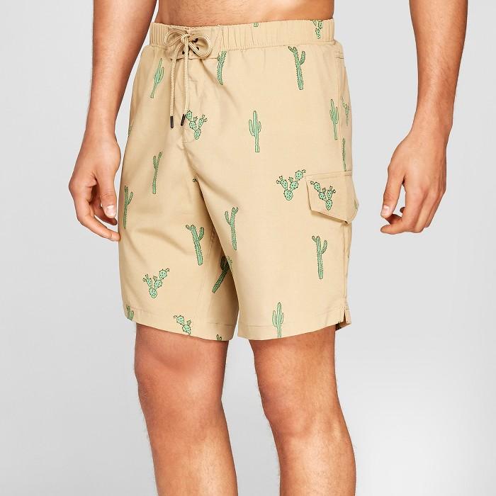 """Men's 7.5"""" No Retreat Cactus Swim Trunks - Beige  - image 1 of 3"""