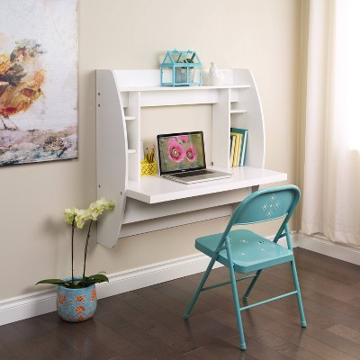 Floating Desk with Storage White - Prepac