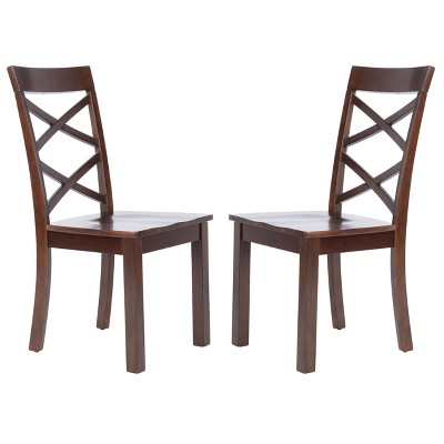 Set of 2 Ainslee Dining Chairs Brown - Safavieh