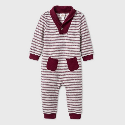 Baby Boys' Striped Cozy Romper - Cat & Jack™ Burgundy 0-3M
