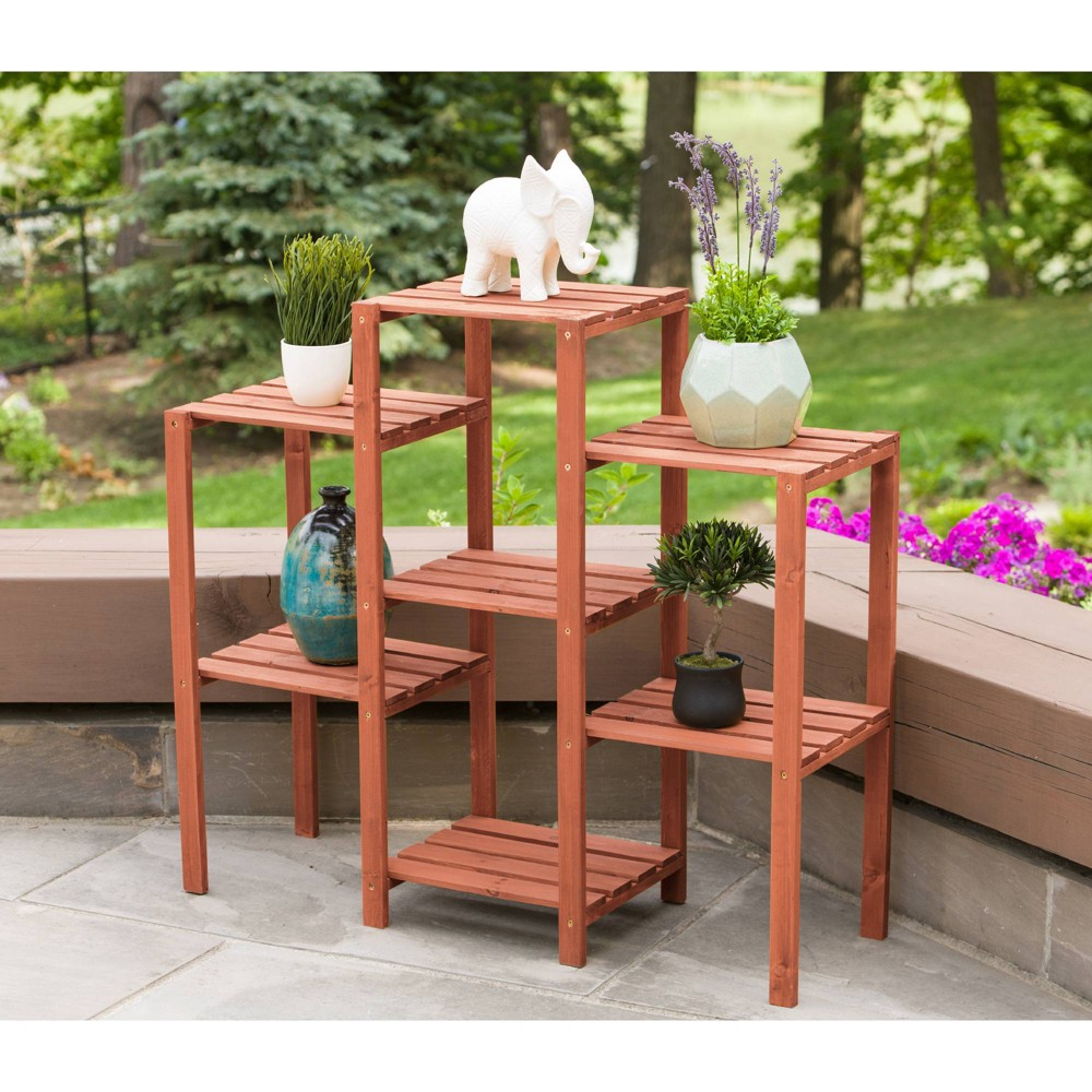 Image of 7 Tier Plant Stand Rectangular - Brown - Leisure Season