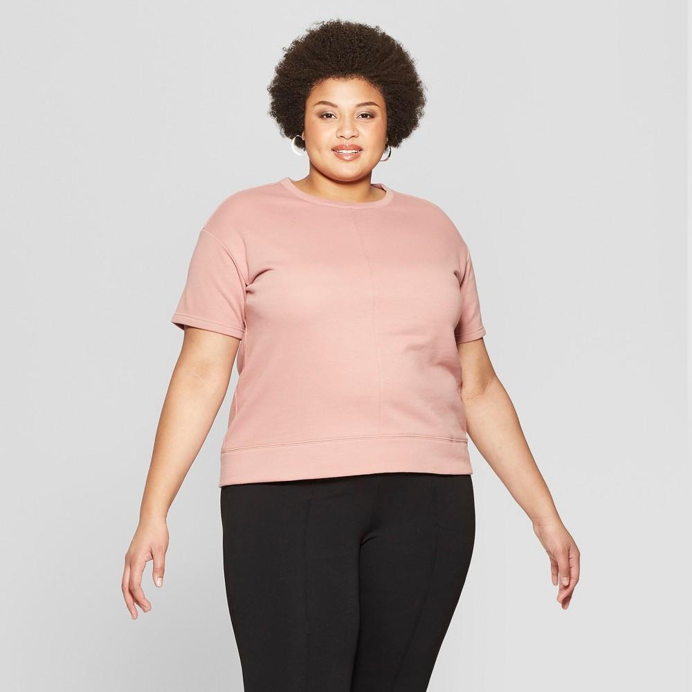 Women's Plus Size Short Sleeve Crew Neck Sweatshirt - Ava & Viv Rose (Pink) 1X