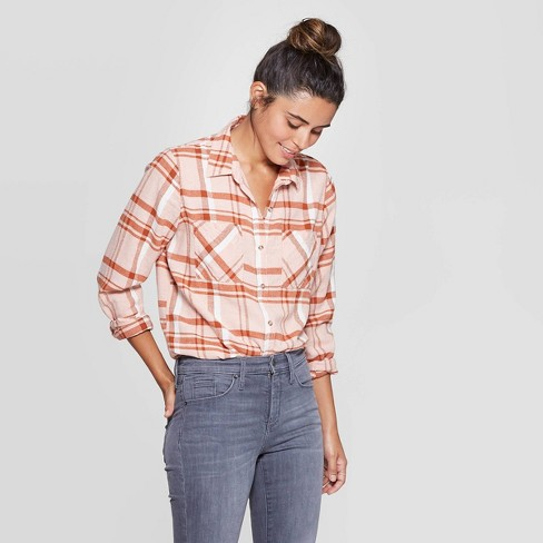 Women's Plaid Long Sleeve Cotton Flannel Shirt - Universal Thread™ Pink - image 1 of 3