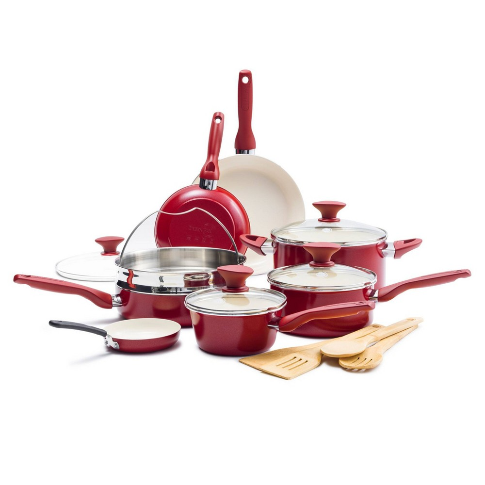 Image of GreenPan Rio 16pc Non Stick Cookware Set Red