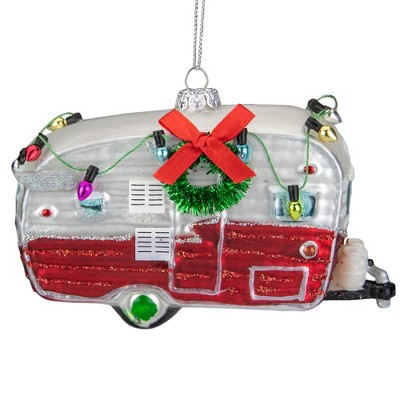 """Northlight 5"""" Red and White Vintage Camper Glass Christmas Ornament"""