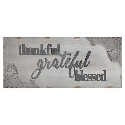 Thankful, Grateful, Blessed  Wood Wall Plaque White - E2 Concepts