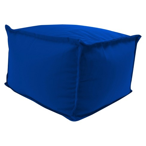 Outdoor Bean Filled Pouf/Ottoman In Sunbrella Canvas Pacific Blue  - Jordan Manufacturing - image 1 of 3