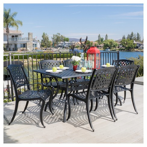 Cayman 7pc Cast Aluminum Patio Dining Set Black Christopher Knight Home Target