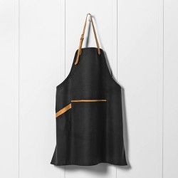 Waxed Canvas Utility Apron with Genuine Leather Charcoal Gray - Hearth & Hand™ with Magnolia