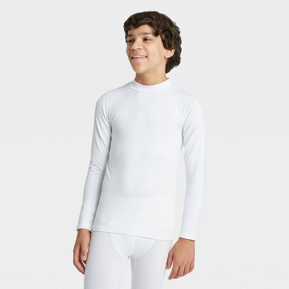 Boys 39 Long Sleeve Fitted Performance Mock Neck T Shirt All In Motion 8482 White S