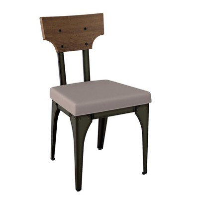 Rally Metal Dining Chair With Distressed Wood Backrest 2 In Set   Amisco