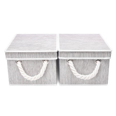 StorageWorks Set of 2 (11L) Rectangle Polyester Storage Bin with Lid and Cotton Rope Handles Clay