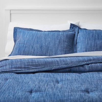 King Family Friendly Comforter & Sham Set Indigo Chambray - Threshold™