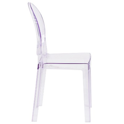 Riverstone Furniture Collection Leather Oval Back Ghost Chair Transparent  Crystal : Target