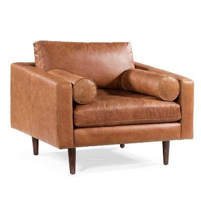 Florence Mid Century Modern Lounge Chair Cognac Tan - Poly & Bark