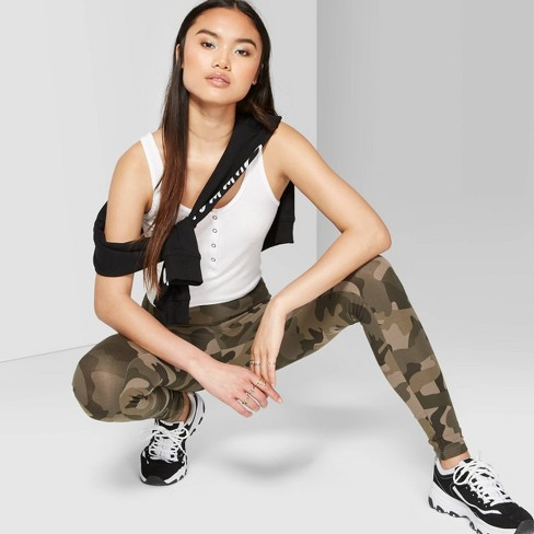 Women's Camo Print High-Rise Leggings - Wild Fable™ Olive - image 1 of 3