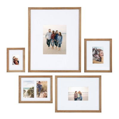 5pc Gallery Frame Box Set Natural Brown - Kate & Laurel All Things Decor