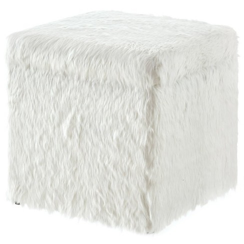 White Faux Fur Cube Ottoman - Stanley - Storage Space - Modern in White - Posh Living - image 1 of 3