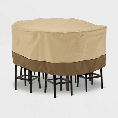 Target & Veranda Tall Round Patio Table \u0026 Chair Set Cover Light Beige L - Classic Accessories