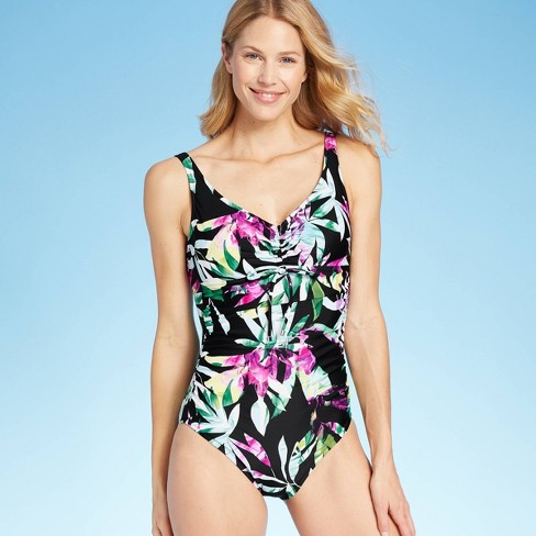 Women's Tie Front One Piece Swimsuit - Aqua Green® - image 1 of 4