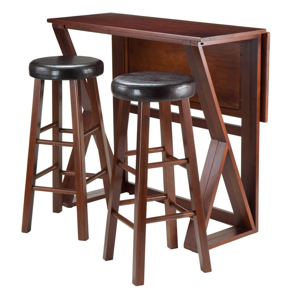 3 Piece Harrington Set Drop Leaf High Table with Bar Stools Cushion Seat Wood/Walnut (Brown) & Black 29 - Winsome