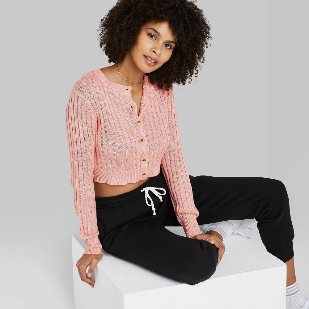 Women 39 S Button Front Cropped Rib Knit Cardigan Wild Fable 8482 Blush Pink M