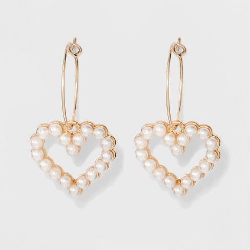 Acrylic Pearls Thin Wire Charm Hoop Earrings - Wild Fable™ Light Gold - image 1 of 2