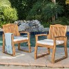 Della 2pk Acacia Wood Dining Chairs - Teak-Rustic Metal - Christopher Knight Home - image 2 of 4