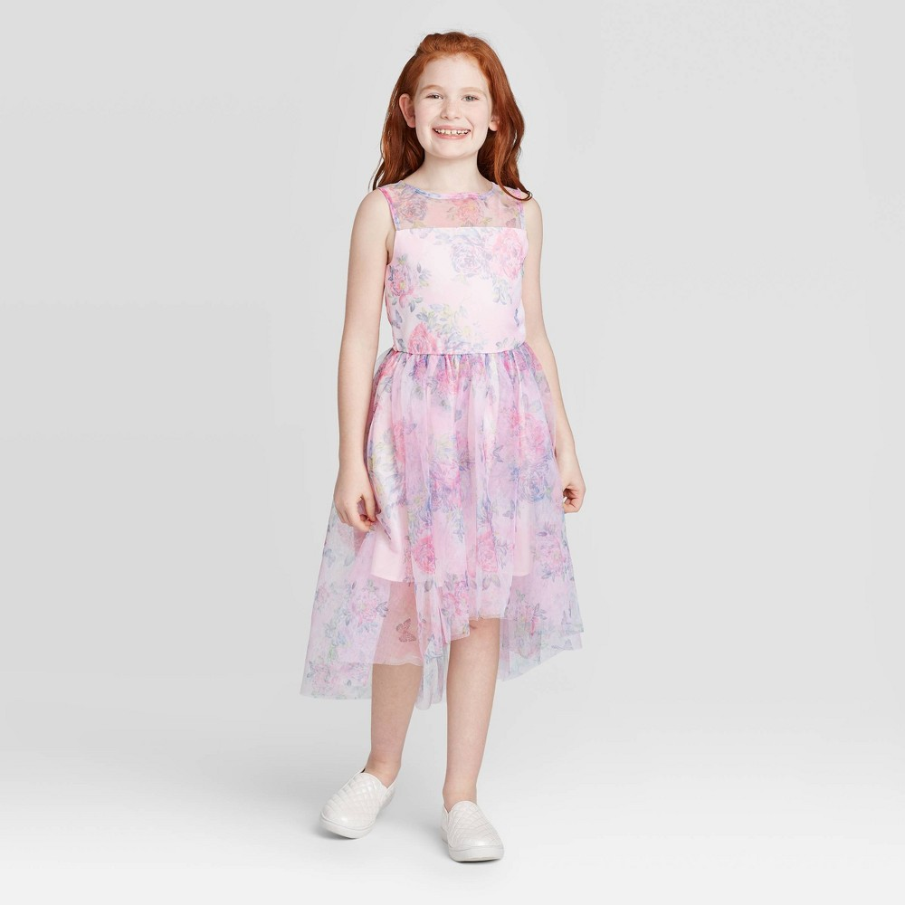 Image of Zenzi Girls' Floral Dress - Blush L, Girl's, Size: Large, Pink