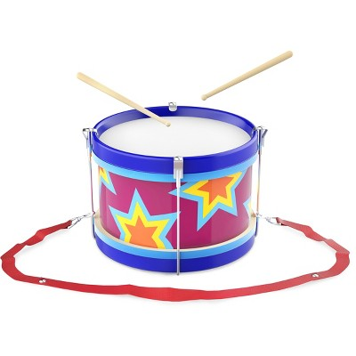 Toy Time Kids' Marching Drum Double-Sided With Adjustable Neck Strap and Wood Drum Sticks - Multicolor